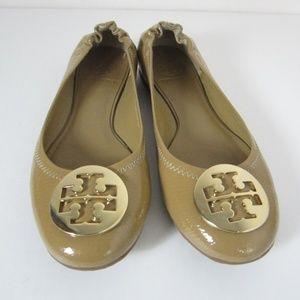 Tory Burch Tan Leather Reva Ballet Flats Womens 8M